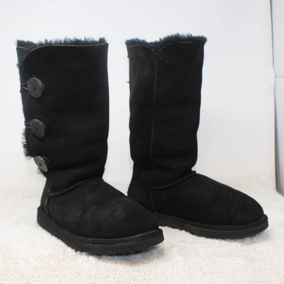 tall black ugg boots with buttons